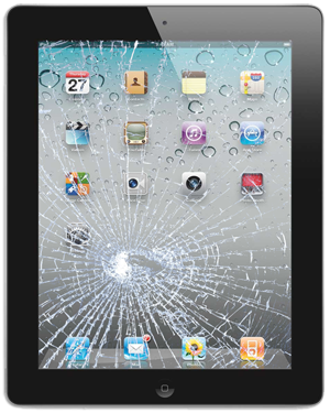 An iPad with a broken screen needing glass replacement