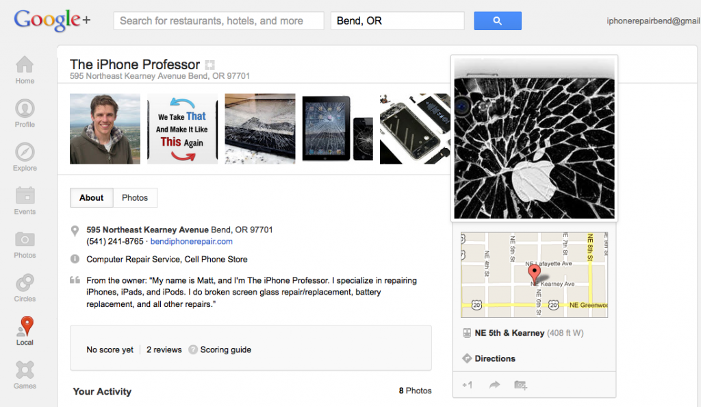Bend iPhone Repair Google Maps Listing