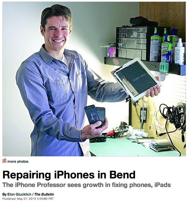 Bend Bulletin photo of Matt Farrell and The iPhone Professor in Bend, Oregon