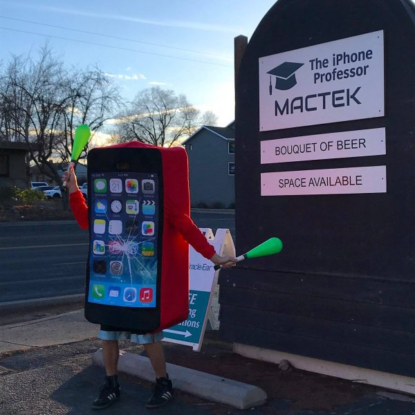 Iphone costume outside our shop tell you to contact us for your phone repairs