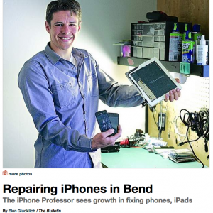 Bend Bulletin photo of Matt Farrell and The iPhone Professor in Bend, Oregon